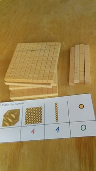 Montessori math: Golden Beads 'Make me' for Bank Game
