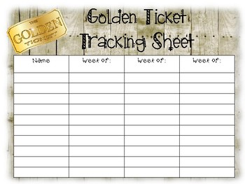 Golden Behavior Tickets and Tracking Sheet