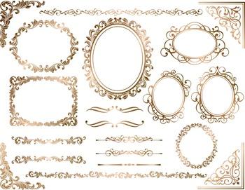 Golden Brown Digital Frame Ornate Clip Art Gold Flourish Swirls Frame Border