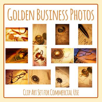 Golden Business Photos / Photographs Clip Art Set for Commercial Use