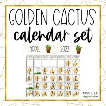 Golden Cactus Classroom Calendar Set