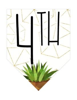 Golden Cactus Classroom Banner