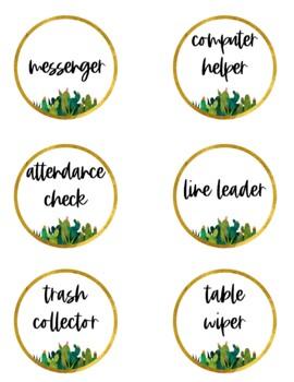Golden Cactus Classroom Job Chart