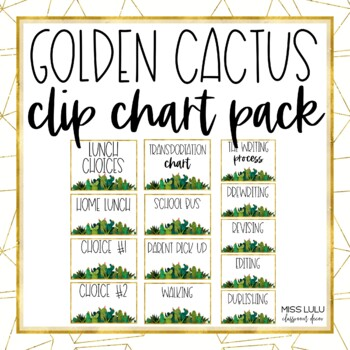 Golden Cactus Clip Chart {Editable}