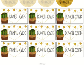 Golden Cactus Editable Punch Pass Cards