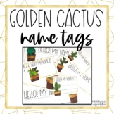 Golden Cactus Name Tags {Editable}