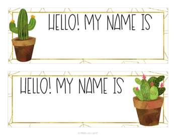 Golden Cactus Name Tags {Editable}