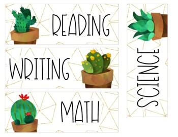 Golden Cactus Objectives & Focus Board {Editable}