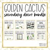 Golden Cactus Upper Elementary/ Secondary Classroom Decor Bundle