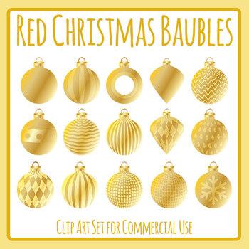Golden Christmas Baubles / Decorations / Balls Clip Art Set for Commercial Use