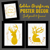 Golden Christmas Poster Decor