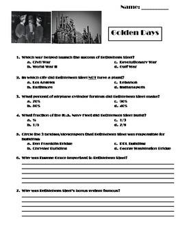 Golden Days of Bethlehem Steel Worksheet (Modifications In