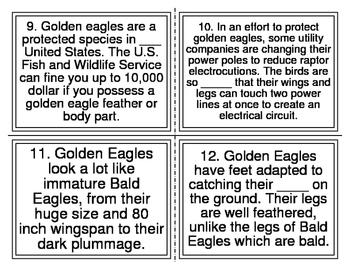 Golden Eagle vs. Bald Eagle Cloze Task Cards (28 Cards)