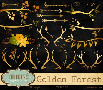 Golden Forest Antlers, Branches, and Arrows Clipart