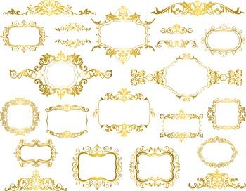 Golden Frame Clip Art Digital Gold Frame Ornate Decoration Embellishment