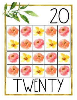 Golden Garden Number Posters
