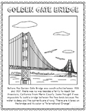 Golden Gate Bridge Informational Text Coloring Page Craft or Poster