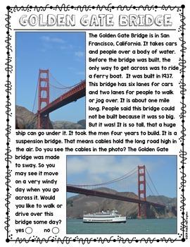 Golden Gate Bridge {Non-Fiction} Close Reading & Text Dependent Questions