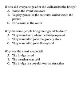 Golden Gate Bridge Reading/Comprehension