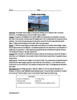 Golden Gate Bridge - Review Article Questions Vocabulary W