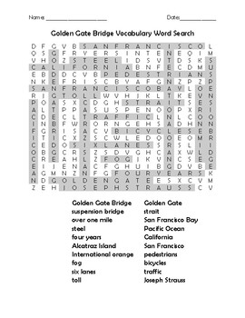 Golden Gate Bridge Vocabulary Word Search