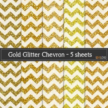 Golden Glitter Chevron