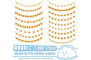 Golden Glitters Bunting Banners Cliparts, Gold glitter texture flags