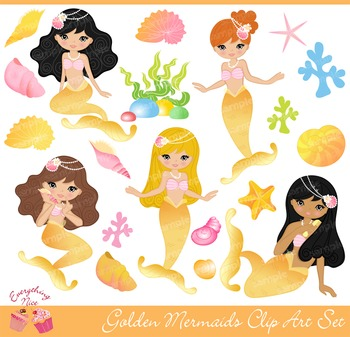 Golden Gold Mermaids Clipart Set