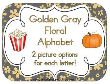 Golden Gray Floral Alphabet Cards