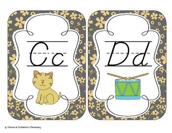 Golden Gray Floral Alphabet Cards: D'Nealian Version