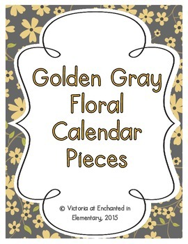 Golden Gray Floral Calendar Numbers, Months and Days