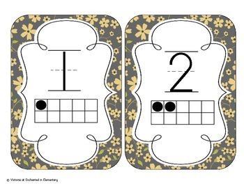 Golden Gray Floral Number Cards 1-20
