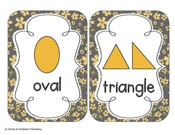 Golden Gray Floral Shape Cards