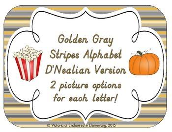 Golden Gray Stripes Alphabet Cards: D'Nealian Version