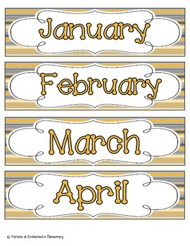 Golden Gray Stripes Calendar Numbers, Months and Days