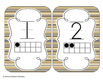 Golden Gray Stripes Number Cards 1-20