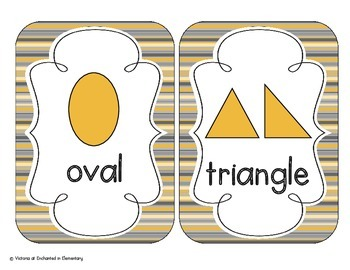 Golden Gray Stripes Shape Cards