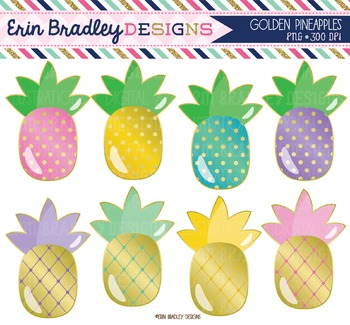 Golden Pineapples Clipart