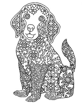 Golden Retriever Pup Zentangle Coloring Page