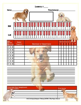 Golden Retrievers Themed Piano Lesson Assignment Sheet *DOGS PUPPIES*