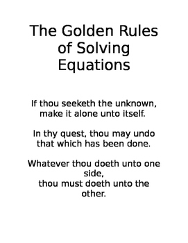 Golden Rules of Solving Equations