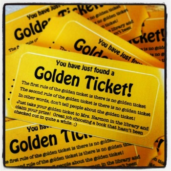 Golden Ticket:  Hide in Seldom-Read Library or Classroom Books FUN!