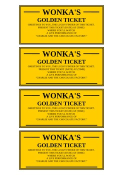 photograph about Printable Golden Tickets known as Golden Ticket (editable)