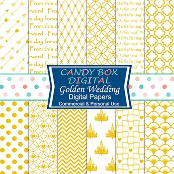Golden Wedding Digital Papers for Romantic Invitations and