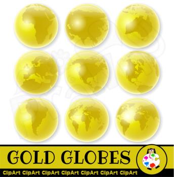 Golden World Globes - Geography Clip Art
