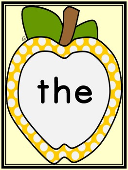 Golden Yellow Apple  Fry First 100 Sight Word Flashcards and Posters