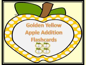Golden Yellow Dot Apple Addition Flashcards 0-12