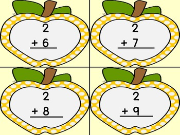 Golden Yellow Dot Apple Addition Flashcards 0-12