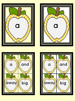 Golden Yellow Dot Apple  Dolch Pre-Primer Sight Word Flashcards and Posters