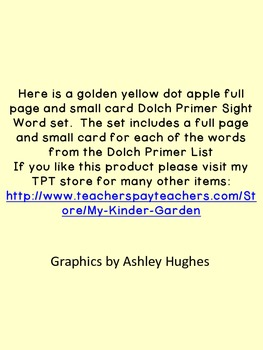 Golden Yellow Dot Apple  Dolch Primer Sight Word Flashcards and Posters